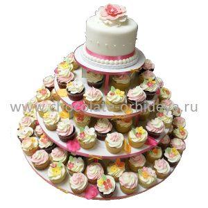 Open Rose Wedding Cake with Spring Cupcakes Closeup onsite 1200